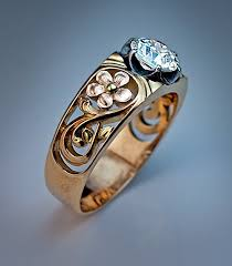 art nouveau russian diamond solitaire men u0027s ring for sale at 1stdibs