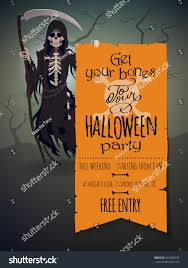 vector halloween invitation template featuring death stock vector