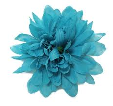 turquoise flowers turquoise blue chrysanthemum hair flower clip
