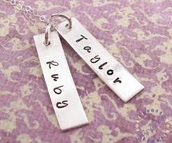 Hand Stamped Necklace Hand Stamped Necklace Sterling Silver Engraved Rectangle Name