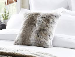 White Fur Cushions Arctic Faux Fur Cushion 45x45cm Mink Sale
