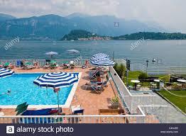 swimming pool cadenabbia griante como lake italy stock photo