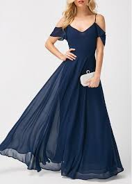 navy maxi dress strappy cold shoulder high waist navy maxi dress modlily