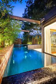beautiful blue glass wood modern design pools house inside wall