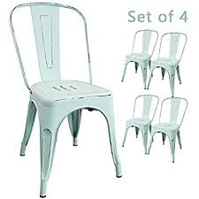 Distressed Bistro Chair Amazon Com Furmax Metal Chairs Distressed Style Dream White