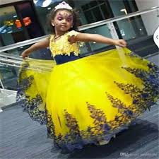Yellow Dresses For Weddings 2016 Yellow And Royal Blue Lace Little Flower Girls U0027 Dresses