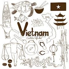 fun sketch collection of vietnamese icons countries alphabet