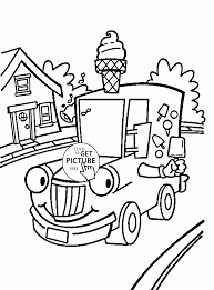 cartoon ice cream truck coloring page for kids transportation