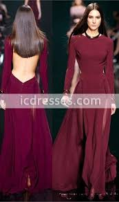 red carpet dresses long sleeve crew neck backless evening gowns