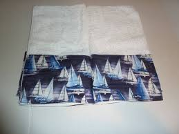 Decorative Hand Towels For Powder Room - sailboats hand towels blue and white boating towels
