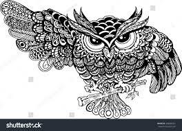vector hand drawn owl sitting on stock vector 458680291 shutterstock