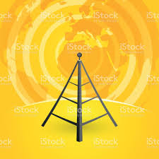 Radio Tower For Internet Radio Tower Transmitter And World Map Stock Vector Art 664633700