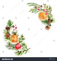 christmas ornaments branches painted watercolors on stock