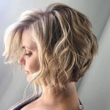 hairstyles for short highlighted blond hair short angled bob wavy hair beach waves bohemian hair blonde