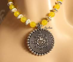 yellow gemstone necklace images Bright yellow ganesha handmade gemstone necklace earring set at jpg