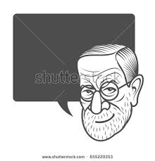 Business Cards With Quotes Vector Cartoon Caricature Portrait Sigmund Freud Stock Vector