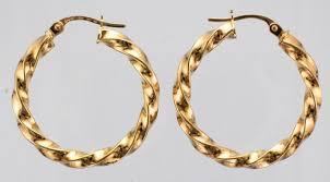 9ct gold earrings 9ct gold 25mm plain twist hoop earrings attenborough pawnbrokers