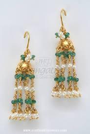 gold jhumka hoop earrings gold emerald hoop jhumka earrings south india jewels