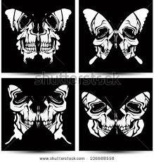 set butterflies skulls vector illustration stock vector 106688558