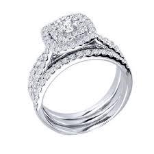 wedding ring trio sets pompeii3 1 1 4ct engagement cushion halo wedding ring trio