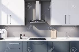 blue kitchen cabinets grey walls interior of modern kitchen with grey walls blue countertops