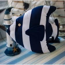 canape de style oreillers de poisson é bleu et blanc pour coussins de canapé