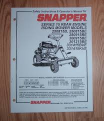 snapper rear engine rider series 15 operator manual ebay