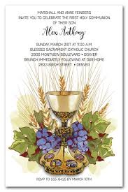 communion invitations chalice grapes wheat holy communion invitations