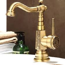 Antique Brass Carving Deck Mounted Bathroom Sink Faucet Ls This