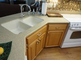 Furniture  Kitchen Design With Brown Wood Kitchen Counter And - Kohler corner kitchen sink