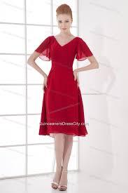 wine red empire ruching v neck short sleeves dresses for dama