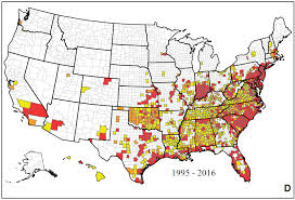 map of usa zika map mosquitoes that transmit zika and dengue by county
