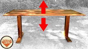 Ikea Desk Adjustable Height by Ikea Hack Adjustable Height Sit Stand Walnut Desk Youtube
