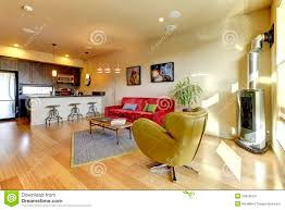Living Room Red Sofa by Yellow Living Room Ith Red Sofa And Kitchen Stock Images Image