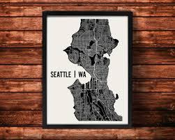 Neighborhoods Seattle Map by Seattle Map Art Print Seattle Print Seattle Art Print