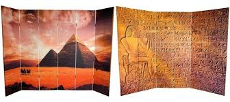 Canvas Room Divider 6 U0027 Tall Double Sided Egyptian Pyramid Canvas Room Divider