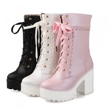 s shoes boots heels white black students high heeled boots