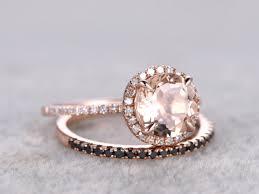 black diamond wedding set 2 morganite bridal set engagement ring gold black diamond