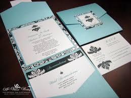 folding wedding invitations blue and black wedding invitation pocket fold style with