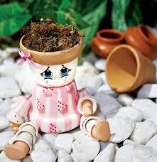 diy garden project ideas clay flower pots dolls eyes diy home