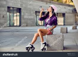 woman on roller skates helmet stock photo 476607913