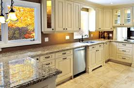 White Stained Wood Kitchen Cabinets L Shaped White Stained Wooden Kitchen Cabinet Using Gray Marble