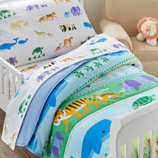blue safari zoo toddler bedding 4pc bed in a bag comforter