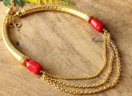 chain necklace gold designs images Red coral designer handmade gold plated chain necklace online in jpg