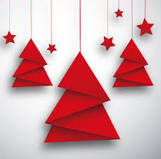 origami christmas tree and red star card vector free vector