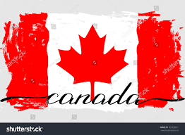 Canadian Flag Patch Canada Flag Grunge Painted Vector Handwriting Stock Vector