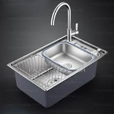 nickel brushed single bowl stainless steel with faucet kitchen sinks