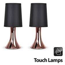 pair of modern copper effect trumpet touch table lamps with