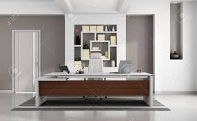 contemporary modern office with elegant desk niche and closed