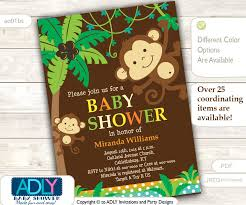 baby shower monkey personalized jungle monkeys baby shower printable diy party